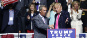 Nigel Farage and Donald Trump on stage in Mississippi