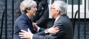 Theresa May and Jean-Claude Juncker in Downing Street.