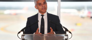 Sadiq Khan speaking at Gatwick Airport last month