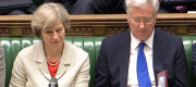 Theresa May and Michael Fallon during the debate on renewing Trident in July last year