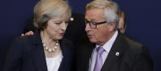 Theresa May and Jean-Claude Juncker at an EU summit in Brussels
