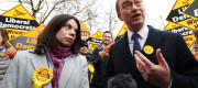 Tim Farron and Sarah Olney celebrate victory in Richmond Park