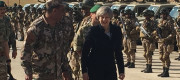 Theresa May pictured in Jordan on the first day of her Middle East trip