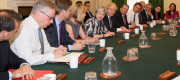 Theresa May chairing a Cabinet meeting in June