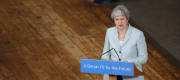 Theresa May speaking in Derby on Monday
