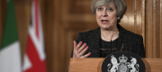 Theresa May at a press conference with Italian prime minister Paolo Gentiloni at No 10