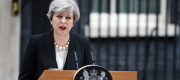 Theresa May speaks outside No 10 after the suicide bombing in Manchester