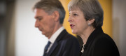 Conservative party leader Theresa May and Chancellor Philip Hammond during a general election campaign event in East London.