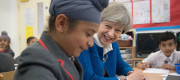 Theresa May visiting Nishkam Primary School in Birmingham