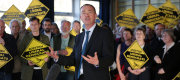 Liberal Democrat leader Tim Farron at a campaign stop in Edinburgh