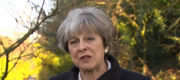 Theresa May speaking to reporters this afternoon