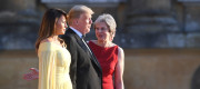 US President Donald Trump and his wife Melania are welcomed by Prime Minister Theresa May and her husband Philip May