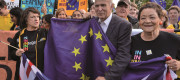 Liberal Democrat leader Vince Cable with pro-EU activists
