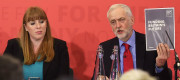 Shadow Education Secretary Angela Rayner and Labour leader Jeremy Corbyn at a General Election campaign event