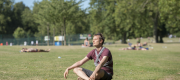 A man sits in a park