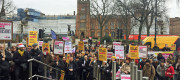 Demonstrators outside Queen's University Belfast