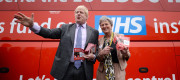 Boris Johnson and Gisela Stuart in front of the Vote Leave bus