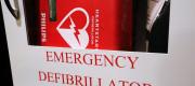Emergency defibrillator in a public building