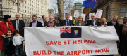 Campaigners outside Downing Street argue for an airport on St Helena
