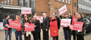 Deputy Welsh Leader Carolyn Harris MP (centre right) at the launch of the Welsh Labour Party campaign in Cardiff.