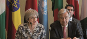 Prime Minister Theresa May and UN Secretary General Ant�nio Guterres chair a meeting on how to tackle modern day slavery and human trafficking at the United Nations General Assembly in New York, USA.