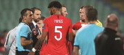 England manager and players talk to the referee about racist chanting in Bulgaria, Nov 2019