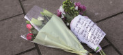 Flowers left for a victim of knife crime