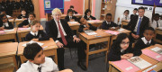 Britain's Prime Minister Boris Johnson and Britain's Secretary of State for Education Gavin Williamson attend a year four history class with pupils during a visit to Pimlico Primary school in London, September 2019.