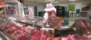Staff at the meat counter at Morrisons in Rochdale.