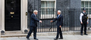 Boris Johnson and US vice-president Mike Pence outside No10 Downing Street