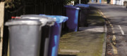 Rubbish and recycling bins line a street in Sunningdale, Berkshire