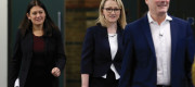Labour deputy leadership candidates (left to right) Lisa Nandy, Rebecca Long-Bailey and Sir Keir Starmer arrive at the Labour leadership hustings event hosted by the Co-operative Party in London