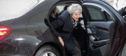 Theresa May arrives for talks with Angela Merkel