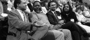 A black and white photo of Labour MPs sitting together at the 1987 party conference in Brighton