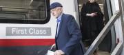 Jeremy Corbyn departs a train