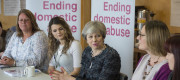 May speaks at an event concerning domestic abuse