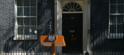 A lectern outside Number 10 Downing Street