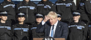 Boris Johnson with police