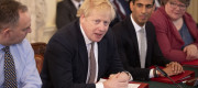 Boris Johnson at the first Cabinet meeting at 10 Downing Street since the reshuffle