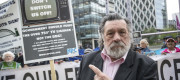 Actor Ricky Tomlinson joins protestors outside BBC Media City in Salford, Greater Manchester