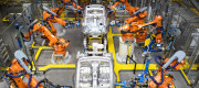 Robots manufacturing cars