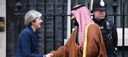 Saudi Arabia's crown prince Mohammad bin Salman is greeted by Prime Minister Theresa May
