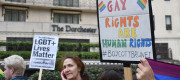 Protestors outside The Dorcester hotel on Park Lane, London demonstrating against the Brunei anti-gay laws.