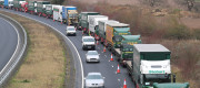 Lorries form up on the A256 outside Dover for the second of two trials at the former Manston Airport site in Kent of a government plan to hold lorries in the event of post-Brexit disruption at the channel ports.