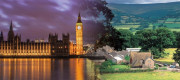 A montage image of the Parliament of Westminster and the rural environment