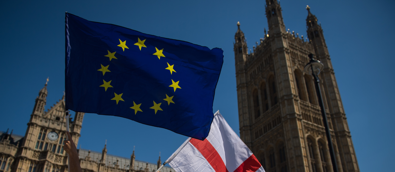 European Union flag outside Parliament, Brexit