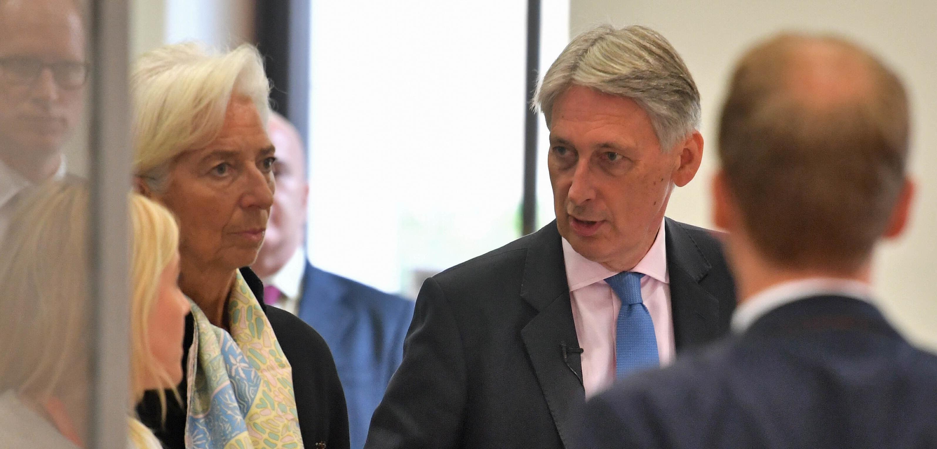 IMF managing director Christine Lagarde with Chancellor Philip Hammond