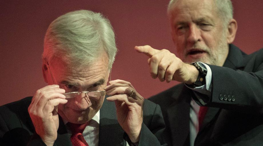 Jeremy Corbyn and John McDonnell at the Labour conference in Brighton