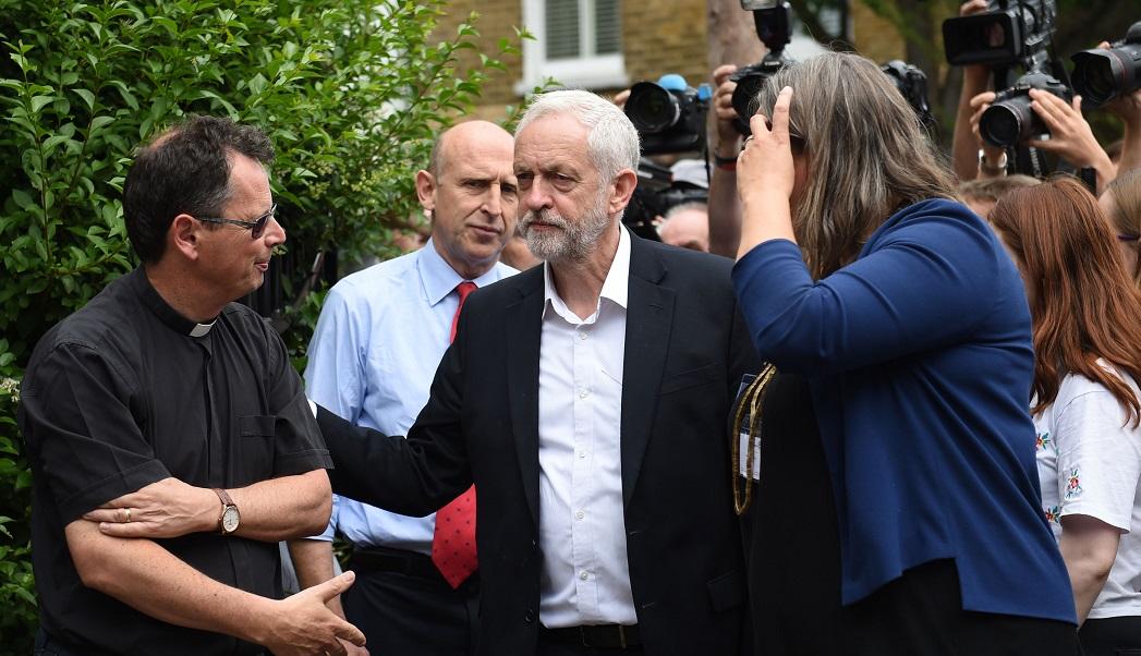 Jeremy Corbyn near the Grenfell site