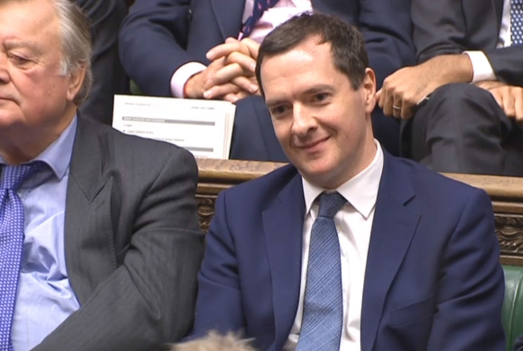 George Osborne listening to the Budget last week